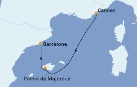 Itinéraire de la croisière Méditerranée 3 jours à bord du MSC Seaview