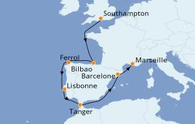 Itinéraire de la croisière Méditerranée 10 jours à bord du