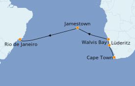 Itinéraire de la croisière Afrique 15 jours à bord du Seven Seas Voyager