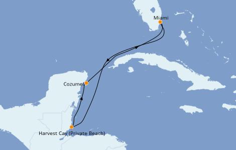 Itinéraire de la croisière Caraïbes de l'Ouest 5 jours à bord du Norwegian Getaway