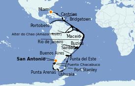 Itinéraire de la croisière Amérique du Sud 51 jours à bord du Marina