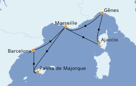 Itinéraire de la croisière Méditerranée 7 jours à bord du MSC Preziosa