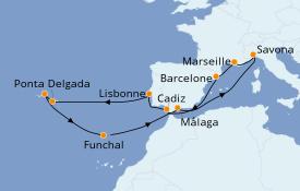 Itinéraire de la croisière Méditerranée 15 jours à bord du Costa Fortuna
