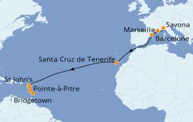 Itinéraire de la croisière Transatlantiques et Grands Voyages 2020 16 jours à bord du Costa Favolosa