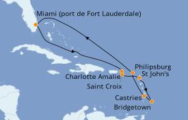 Itinéraire de la croisière Caraïbes de l'Est 12 jours à bord du Celebrity Equinox