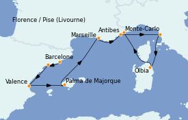 Itinéraire de la croisière Méditerranée 8 jours à bord du MS Riviera