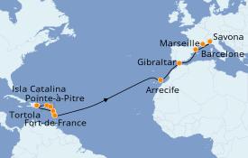 Itinéraire de la croisière Transatlantiques et Grands Voyages 2020 23 jours à bord du Costa Favolosa