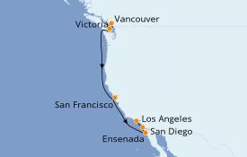 Itinéraire de la croisière Transatlantiques et Grands Voyages 2021 8 jours à bord du Norwegian Bliss