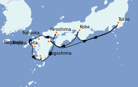 Itinéraire de la croisière Asie 11 jours à bord du Silver Shadow