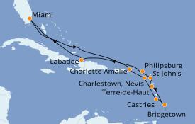 Itinéraire de la croisière Caraïbes de l'Est 14 jours à bord du Azamara Quest