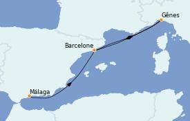 Itinéraire de la croisière Méditerranée 6 jours à bord du MSC Grandiosa