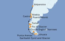 Itinéraire de la croisière Amérique du Sud 13 jours à bord du Silver Cloud Expedition