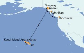 Itinéraire de la croisière Alaska 17 jours à bord du Norwegian Spirit