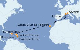 Itinéraire de la croisière Transatlantiques et Grands Voyages 2021 16 jours à bord du Costa Fortuna
