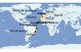 Itinerario de crucero Trasatlántico y Grande Viaje 2022 21 días a bordo del MSC Splendida