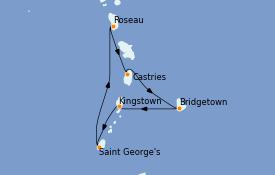 Itinerario de crucero Caribe del Este 8 días a bordo del Rhapsody of the Seas