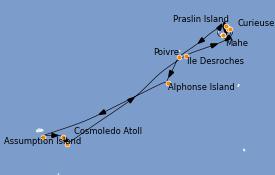 Itinéraire de la croisière Océan Indien 13 jours à bord du Le Bellot