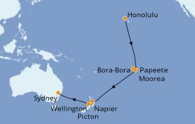 Itinéraire de la croisière Australie 2020 21 jours à bord du Ovation of the Seas