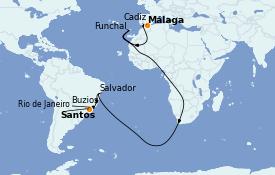Itinéraire de la croisière Transatlantiques et Grands Voyages 2021 16 jours à bord du MSC Splendida