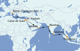 Itinéraire de la croisière Tour du Monde 2022 23 jours à bord du MSC Poesia