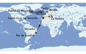 Itinéraire de la croisière Transatlantiques et Grands Voyages 2021 20 jours à bord du MSC Sinfonia