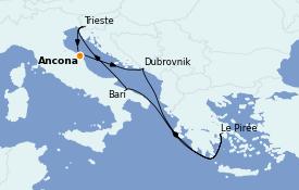 Itinerario de crucero Grecia y Adriático 8 días a bordo del MSC Splendida