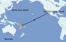 Itinéraire de la croisière Polynésie 12 jours à bord du Le Lapérouse