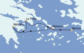 Itinéraire de la croisière Grèce & Adriatique 5 jours à bord du Le Jacques Cartier