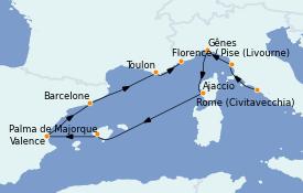 Itinerario de crucero Mediterráneo 9 días a bordo del MS Marina