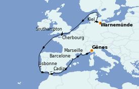 Itinerario de crucero Mediterráneo 15 días a bordo del MSC Seaview