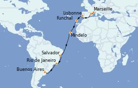 Itinerario de crucero Vuelta al mundo 2022 21 días a bordo del MSC Poesia