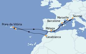Itinéraire de la croisière Méditerranée 15 jours à bord du Costa Pacifica