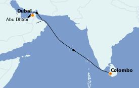 Itinéraire de la croisière Dubaï - Emirats 10 jours à bord du MSC Virtuosa