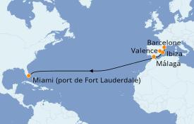 Itinéraire de la croisière Transatlantiques et Grands Voyages 2021 14 jours à bord du Vision of the Seas