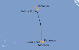 Itinéraire de la croisière Polynésie 10 jours à bord du Pacific Princess