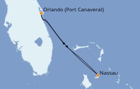 Itinéraire de la croisière Bahamas 4 jours à bord du Carnival Liberty