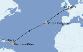 Itinéraire de la croisière Transatlantiques et Grands Voyages 2020 13 jours à bord du MSC Preziosa