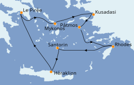 Itinéraire de la croisière Grèce & Adriatique 8 jours à bord du Azamara Pursuit