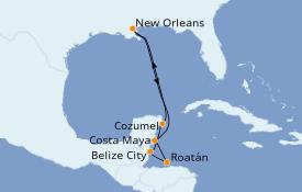 Itinéraire de la croisière Caraïbes de l'Ouest 9 jours à bord du Carnival Glory