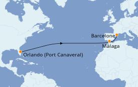 Itinéraire de la croisière Transatlantiques et Grands Voyages 2021 13 jours à bord du Harmony of the Seas