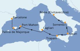 Itinéraire de la croisière Méditerranée 8 jours à bord du Silver Spirit