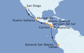 Itinéraire de la croisière Riviera Mexicaine 17 jours à bord du ms Rotterdam
