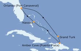 Itinéraire de la croisière Caraïbes de l'Est 7 jours à bord du Carnival Mardi Gras