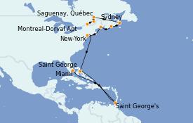 Itinéraire de la croisière Canada 15 jours à bord du MS Insignia