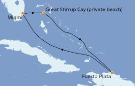 Itinéraire de la croisière Caraïbes de l'Est 6 jours à bord du Norwegian Pearl