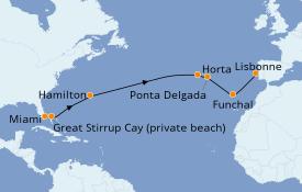 Itinéraire de la croisière Îles Canaries 15 jours à bord du Seven Seas Voyager