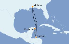 Itinéraire de la croisière Caraïbes de l'Ouest 7 jours à bord du Carnival Fantasy