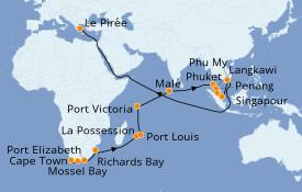 Itinéraire de la croisière Afrique 29 jours à bord du Norwegian Spirit