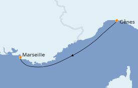 Itinéraire de la croisière Méditerranée 2 jours à bord du MSC Splendida
