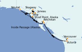 Itinéraire de la croisière Alaska 12 jours à bord du Celebrity Eclipse